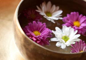 Les fleurs nagent dans un bain d'eau