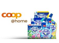 Diverse WC Frisch Produkte stehen neben dem coop@home Logo