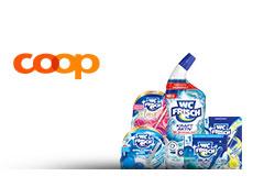 Verschiedene WC Frisch Produkte stehen neben dem coop@home Logo