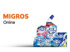 Verschiedene WC Frisch Produkte stehen neben dem LeShop-Logo