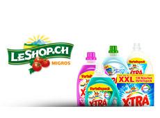 Divers produits X-TRA à côté d'un logo de LeShop.ch