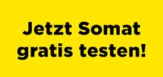 """Gelbes Bild mit Aufschrift """"Jetzt Somat gratis testen"""""""