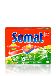 Eine Packung Somat 7 all in 1 Zitrone & Limette
