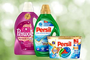 Perwoll und Persil Produkte stehen nebeneinander