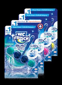 Vier WC Frisch Farbspüler Duftvarianten