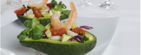 Avocado-Salat mit Scampi