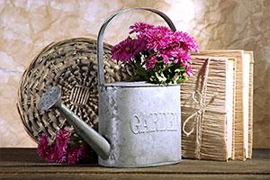 Bastelidee Gießkanne mit Blumen als Vase
