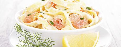 Pasta mit Lachs-Rahm-Sauce