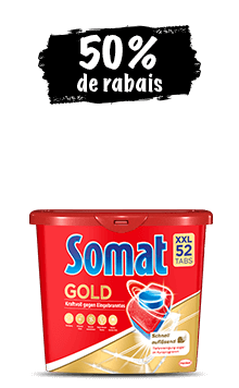 Emballages promotionnels Somat All in 1, Gold et Excellence