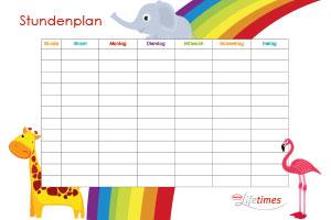 Stundenplan-Vorlage in Farbe herunterladen