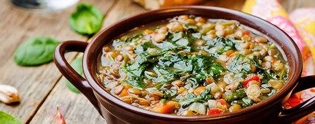 Linseneintopf mit Rüebli und Spinat