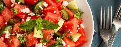 Sommerlicher Melonensalat mit Feta und Minze