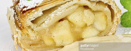 Strudel aux pommes et aux poires sauce vanille