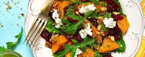Warmer Kürbissalat mit Rucola, Cranberries und Ziegenkäse