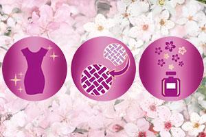 Drei Icons vor einem Blütenhintergrund