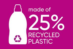 Pinker Hintergrund mit Schriftzug made of 25% recyled plastic