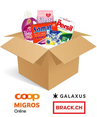 Produkte von Vernel, Somat, Persil und filetti in einer Box mit den Logos von Coop@home, galaxus und brack