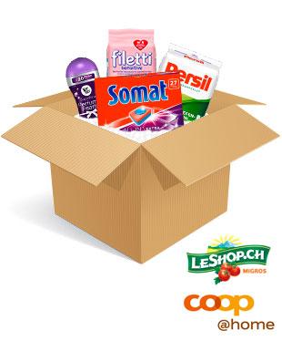 Produkte von Vernel, Somat, Persil und filetti in einer Box mit den Logos von Coop@home und LeShop