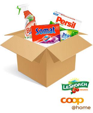 Henkel-Produkte in einem Karton und die Logos von coop@home und LeShop.ch